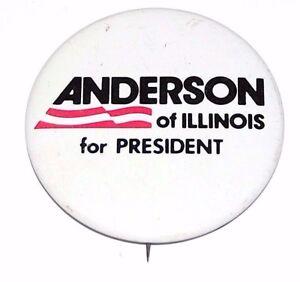 1980 JOHN ANDERSON ILLINOIS campaign pin pinback button political presidential