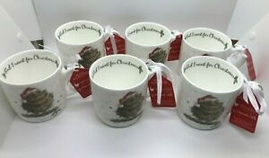 6 Mugs Owl I Want for Christmas Royal Worcester Wrendale Designs Fine Bone China