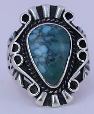 Vintage Native American Navajo sterling silver unusual 2 color Turquoise ring