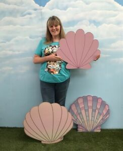 Giant MDF Mermaid Sea Shell Oyster Party Decoration Photo Kids Balloon Prop