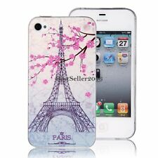 Paris Eiffel Tower Pink Flower Slim Soft Case Back Cover for Apple iPhone 4