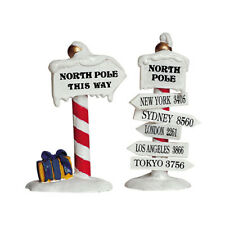 New Lemax Figurines North Pole Signs Set of 2 # 64455 Polyresin 2017