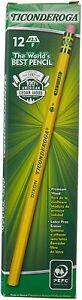 Ticonderoga Cedar Yellow Wood Pencils, 2-1/2/F Medium Lead, Dozen Smooth Finish