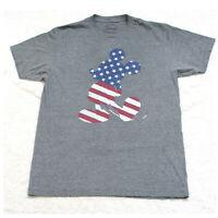 Disney Mickey Mouse Gray Crewneck Mans Graphic Tee T-Shirt Top Men's Medium X7