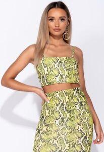 Womens Parisian Green Animal Snake Print Strappy Crop Top