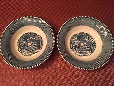 Vtg. Currier and Ives Royal China 2 Fruit Dessert Sauce Bowls OLD FARM GATE Blue