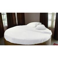 800TC Egyptian Cotton ROUND BED SHEET SET Sateen Solid White