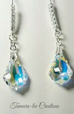 ARTISAN STERLING SILVER EARRINGS MADE WITH BAROQUE CLEAR AB SWAROVSKI CRYSTALS
