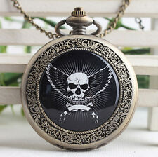 Antique death squads skull bronze steampunk ceramic pocket watch necklace.