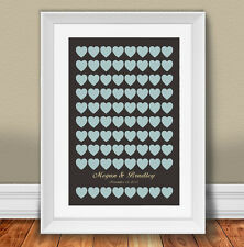 Wedding Guestbook Alternative Poster Kit with 80 hearts 20x30 inches