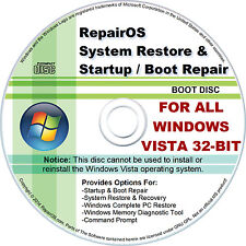 System Restore/Recovery & Startup/Boot Repair CD Disc For Windows Vista - 32 Bit
