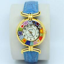 Murano Glass Quartz Watch from Venice with Millefiori and Light Blue Strap