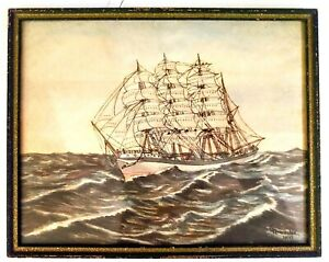 Antique Nautical Watercolor Painting- Dated 1913 Signed Muncaster/ Folk Art Ship
