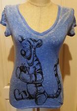 DISNEY Winnie The Pooh TIGGER V-Neck Blue Burn Out T-Shirt Junior's Size Large