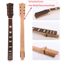 New Guitar Neck 22Fret Mahogany Rosewood Fretboard Trapezoid Inlay Set In LP