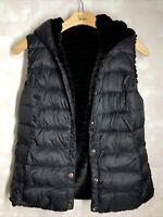 Charter Club L NWT BLACK AMAZING Faux-Fur Hooded Reversible Vest Msrp$109