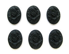 6 Unset Goth Emo BLACK ROSE on BLACK 25mm x 18mm Costume Jewelry Crafts CAMEOS