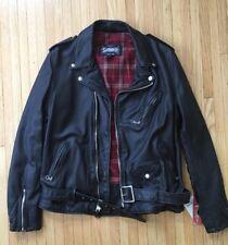 Bnwt Schott N.Y.C Fitted Vintage Black Leather Moto Jacket. Sz XL $870 626VN