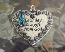 HEALTH 1 Heart Ovarian Cancer Awareness Teal Ribbon Pendant New.
