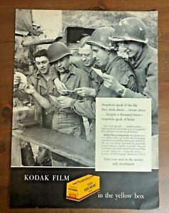 Original 1945 Magazine Print Ad KODAK FILM in the Yellow Box WWII Photos