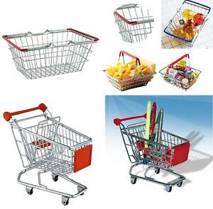 Mini Wire Shopping Trolley Basket Children's Toy Handles Office Supplies Holder