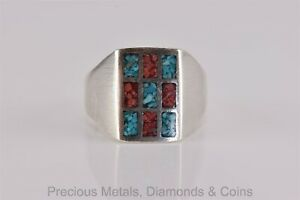 Sterling Silver 17mm Crush Blue Turquoise Red Coral Mosaic Band Ring 925 Sz: 11