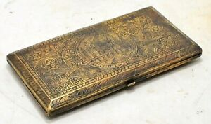 Antique Brass Money Purse Box Original Old Hand Crafted Engraved