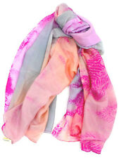 Morgan & Oates Ladies 100% Silk Pink Peach & Grey Womens Scarf Shawl Pashmina