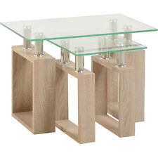 Milan Nest Of Tables Light Sonoma Oak/Glass