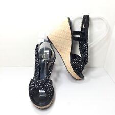 Women's Kate Spade New York  Black White Polka Dot Wedges Sandals Size 7.5 M