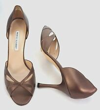 Manolo Blahnik D 'Orsay Metallic Bronze Leder Open Toe High Heel Pump SZ 42