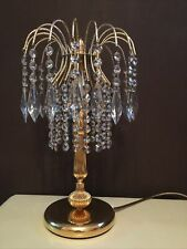 More details for gold plated chandelier table lamp waterfall crystal light bedside