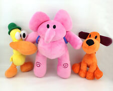 "3X Pocoyo TV Elephant Elly Duck Pato Puppy Loula Plush Toy Stuffed Animal 7""-11"""