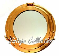 "15"" Antique Maritime Brass Round Porthole Window Glass Nautical Boat Port Mirror"