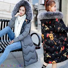 Women's Winter Down Cotton Outwear Jacket Fur Hooded Reversible Long Parka Coat