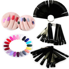 50 Tips False Display Nail Art Fan Wheel Polish Practice Color Pop Tip Sticks