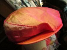 LARGE True Vtg 80s Artel Reflective Nylon Irridescant orange/pink Newsboy Hat -