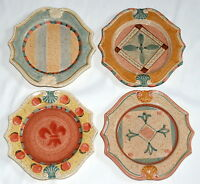 Horchow Medici * 4 SALAD / LUNCH PLATES * Hand Painted Italy, Tuscan, Excellent!