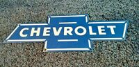 VINTAGE CHEVROLET PORCELAIN BOW-TIE GAS OIL AUTO TRUCKS SERVICE SALES SIGN