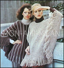 "Vintage Knitting Pattern • Ladies • FRINGED PONCHO CAPES • Tops • 32-38"" • DK"