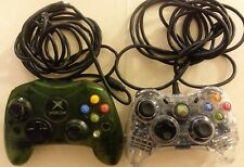2x LOT Xbox Wired Controllers   Afterglow CLEAR PL-3602 & GREEN -NO USB Adapters