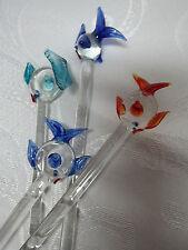 Handmade Glass Swizzle Sticks Set  4 Stir Sticks Tropical Fish Sealife Ornaments