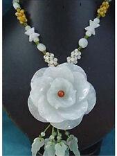 Huge Beaded Chain Delicate Carved Jadeite Jade Peony Flower necklace -Top Grade!