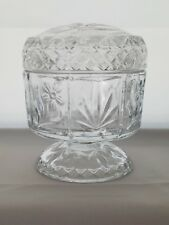 Vintage Avon Clear Pressed Glass Pedestal Dish with Lid, Trinket Jar, Fostoria