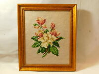 Vintage Needlepoint Embroidery Pink White Roses Gilt Wood Frame Picture