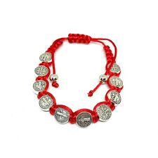 Saint St Benedict Medal on 8 Inch Adjustable Red Cord Bracelet Evil Protection
