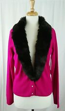 NWT i.e. Button Hotpink Cardigan Sweater w Removeable Faux Colar Sz L