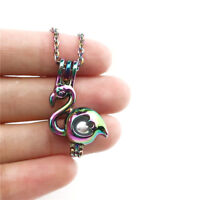 C655 COLORS Flamingo Pearl Cage NO Akoya Oyster Locket Pendant Necklace