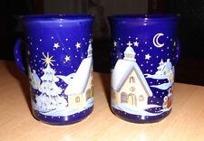 2 Glühweintassen Blau mit Wintermotiv 200 ml Guter Zustand