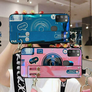 For Samsung Galaxy Note 20 A32 S21 Camera Stand Holder Lanyard Phone Case Cover